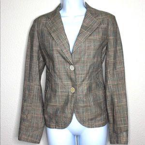 Jil Sander Linen Silk Cotton Blend Plaid Jacket